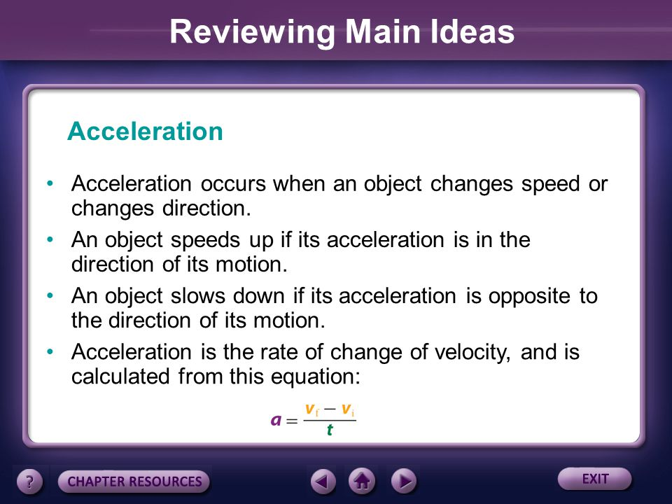 Reviewing Main Ideas Acceleration