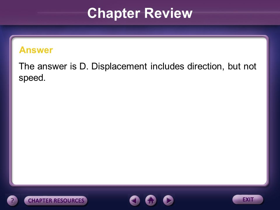 Chapter Review Answer The answer is D. Displacement includes direction, but not speed.