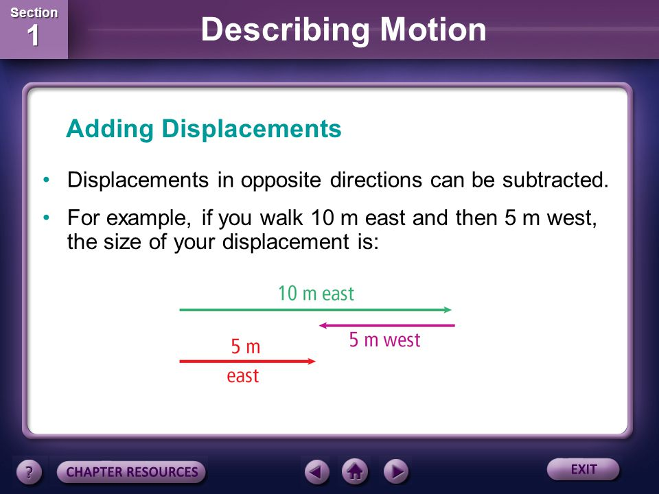 Adding Displacements Displacements in opposite directions can be subtracted.