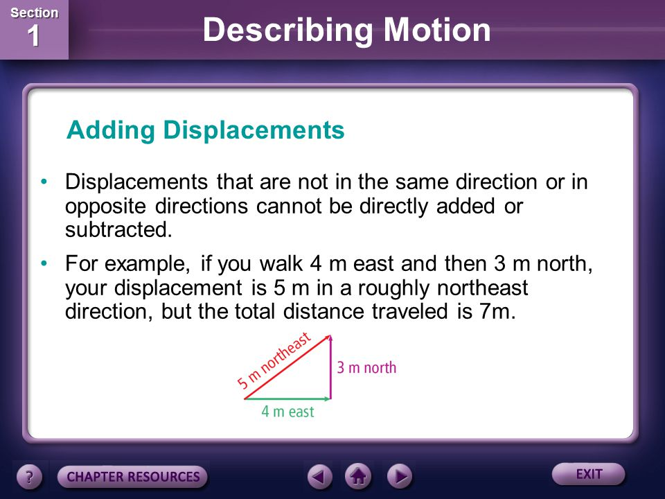 Adding Displacements Displacements that are not in the same direction or in opposite directions cannot be directly added or subtracted.