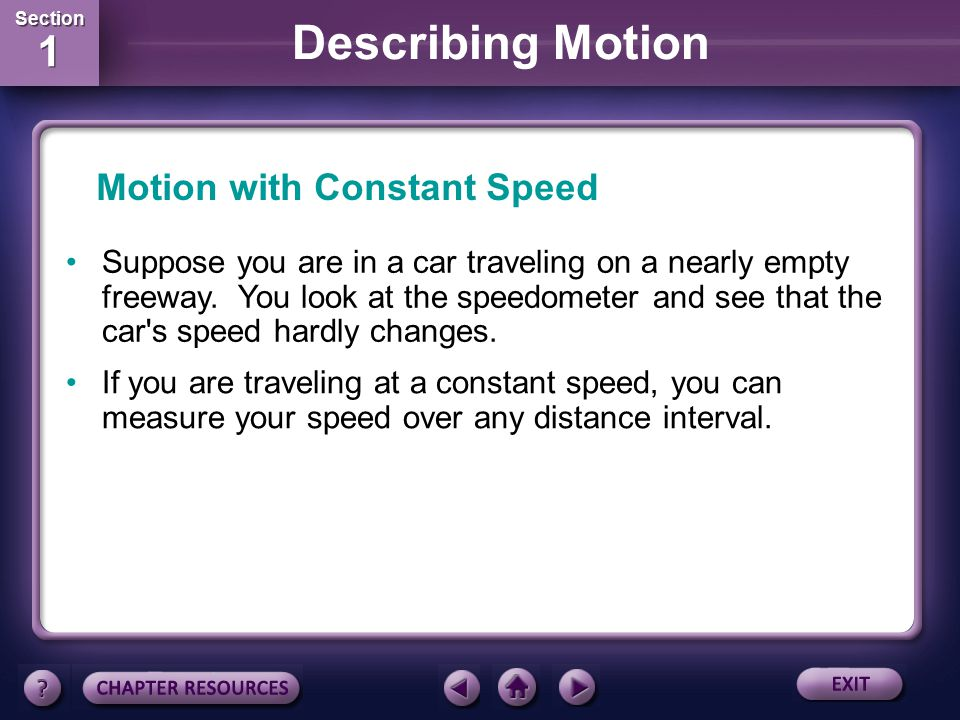 Motion with Constant Speed