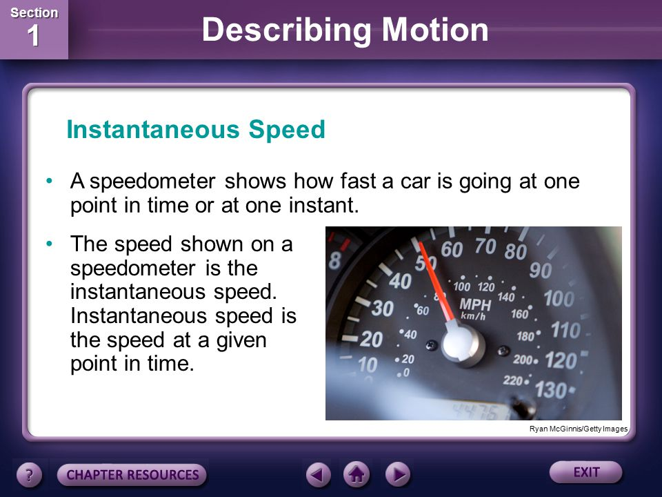 Instantaneous Speed A speedometer shows how fast a car is going at one point in time or at one instant.