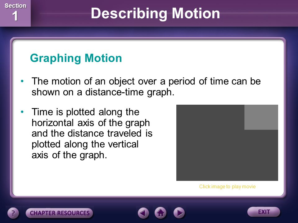 Graphing Motion The motion of an object over a period of time can be shown on a distance-time graph.