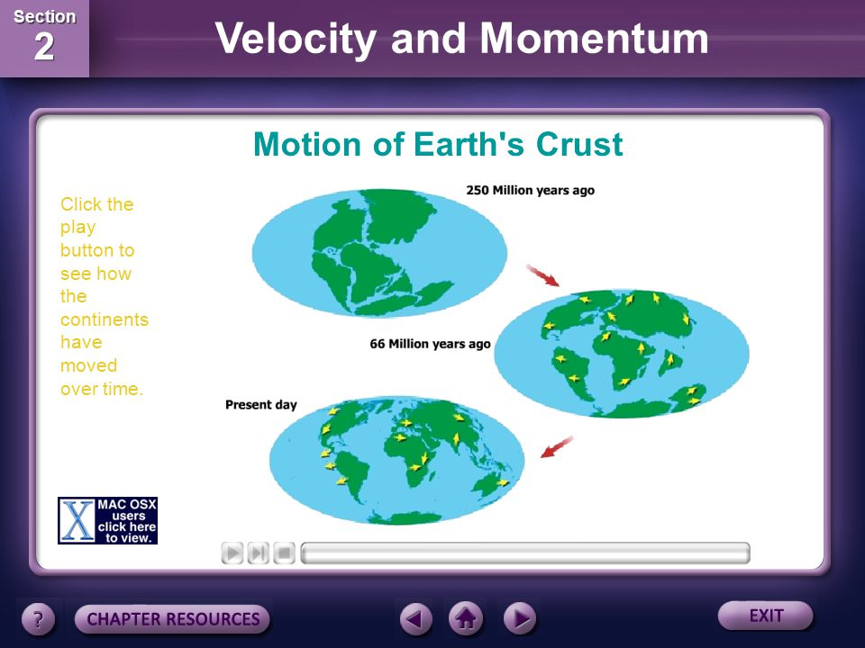 Motion of Earth s Crust Click the play button to see how the continents have moved over time.