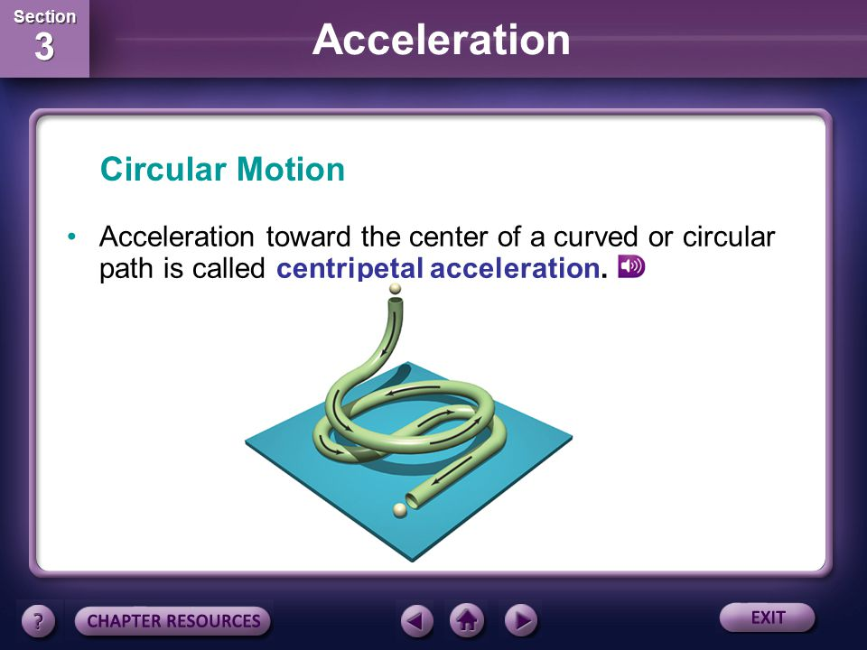 Circular Motion Acceleration toward the center of a curved or circular path is called centripetal acceleration.