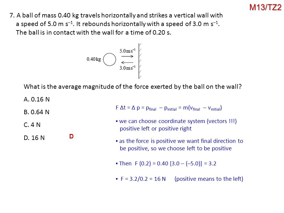 M13/TZ2 7. A ball of mass 0.40 kg travels horizontally and strikes a vertical wall with.