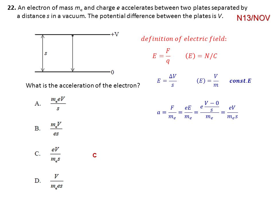 22. An electron of mass me and charge e accelerates between two plates separated by