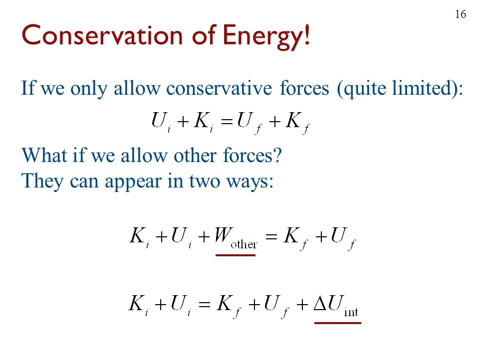 Conservation of Energy!