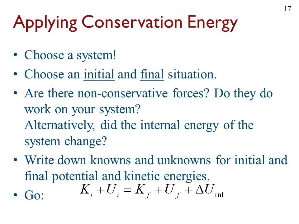 Applying Conservation Energy