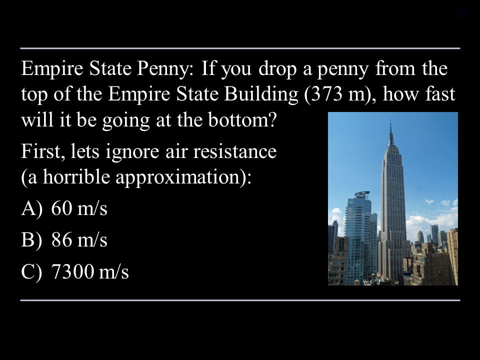 Empire State Penny: If you drop a penny from the top of the Empire State Building (373 m), how fast will it be going at the bottom