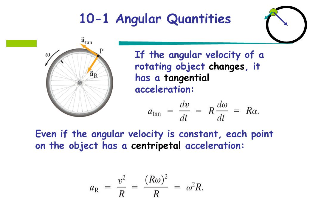 10-1 Angular Quantities If the angular velocity of a rotating object changes, it has a tangential acceleration:
