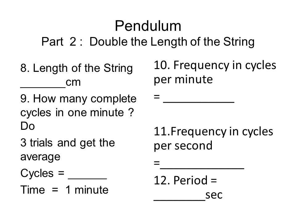 Pendulum Part 2 : Double the Length of the String