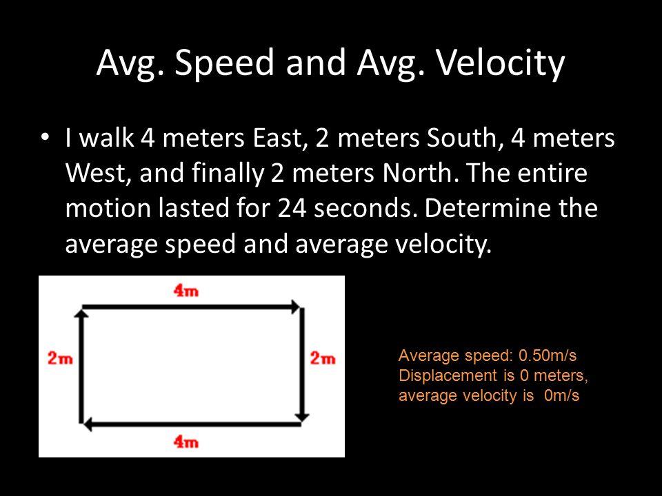 Avg. Speed and Avg. Velocity