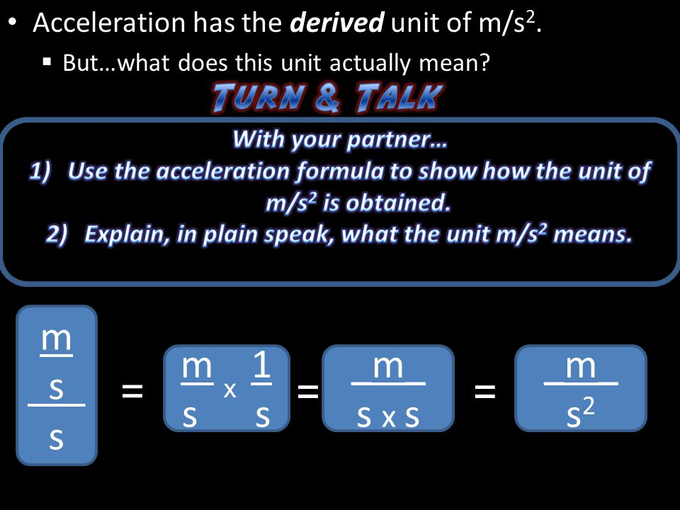 Acceleration has the derived unit of m/s2.