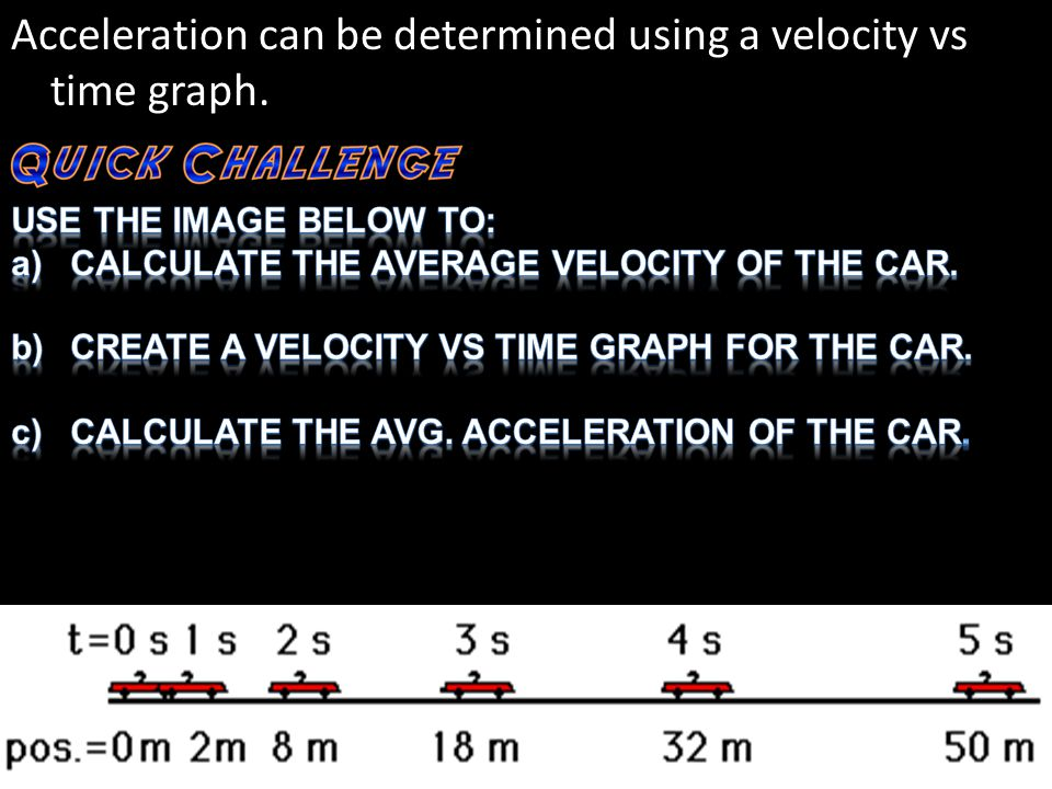 Acceleration can be determined using a velocity vs time graph.