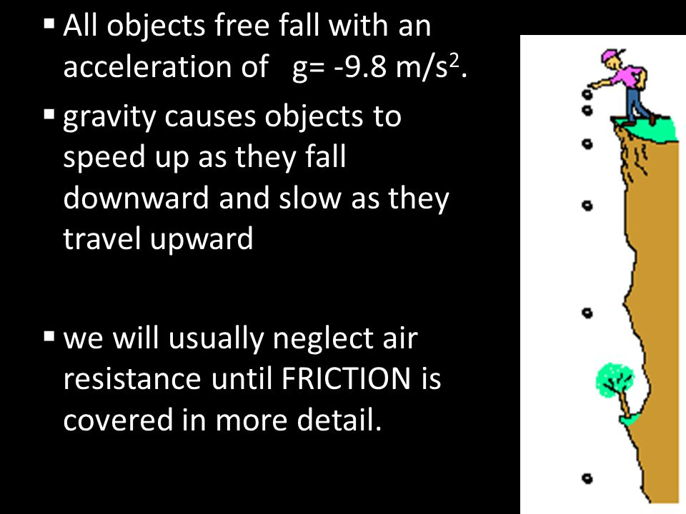 All objects free fall with an acceleration of g= -9.8 m/s2.
