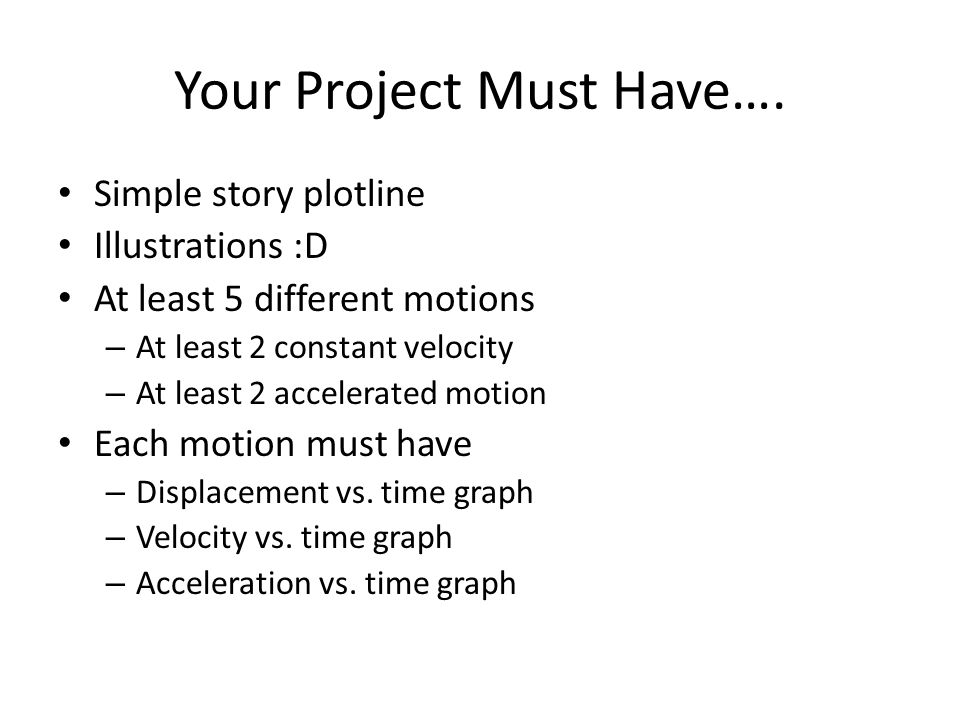 Your Project Must Have….