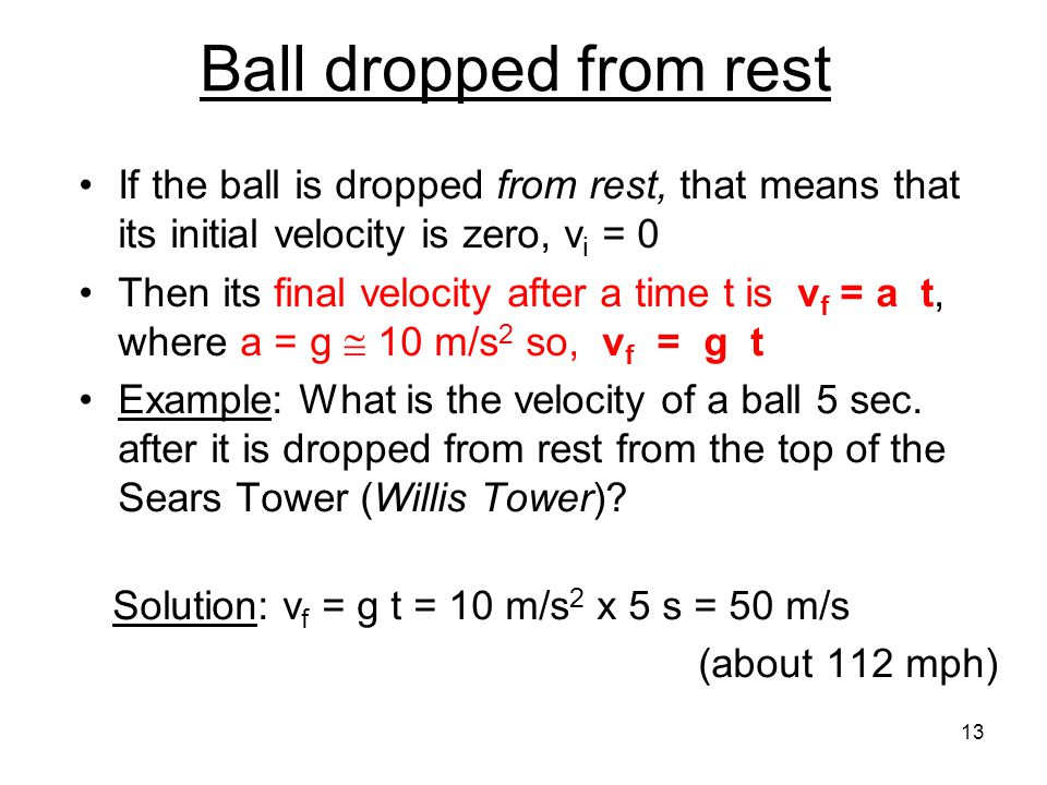 Ball dropped from rest If the ball is dropped from rest, that means that its initial velocity is zero, vi = 0.