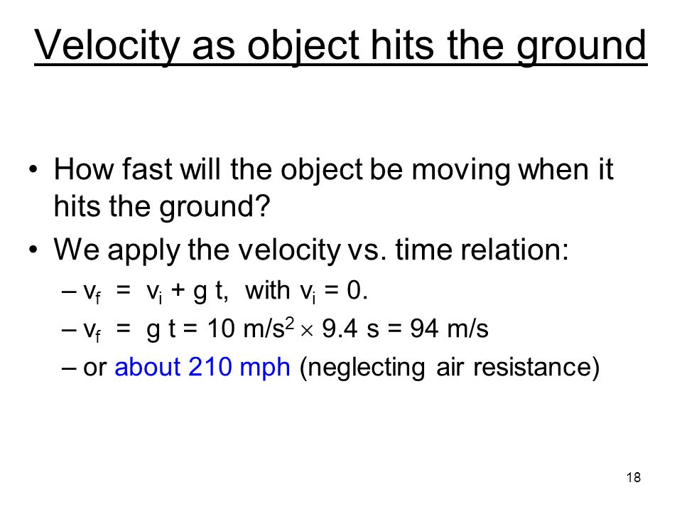 Velocity as object hits the ground
