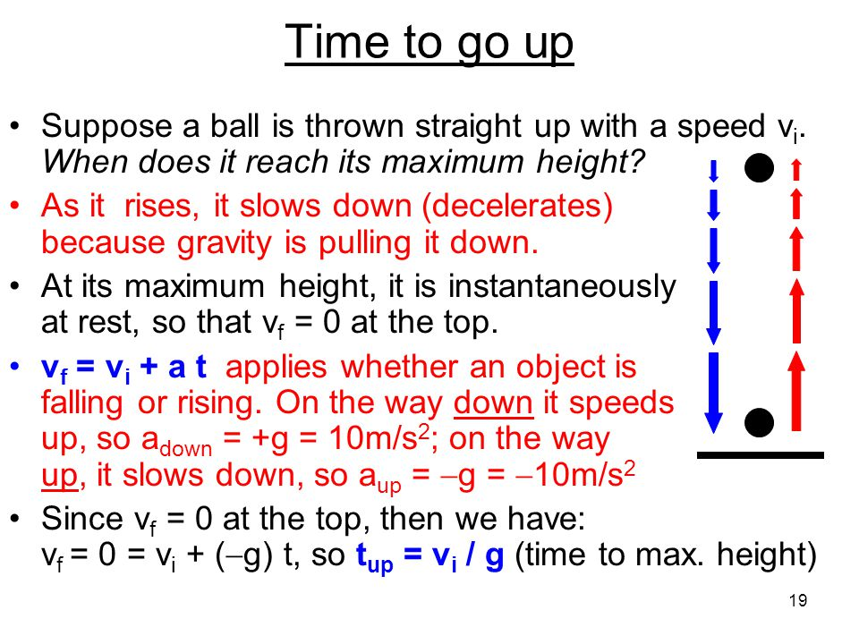 Time to go up Suppose a ball is thrown straight up with a speed vi. When does it reach its maximum height