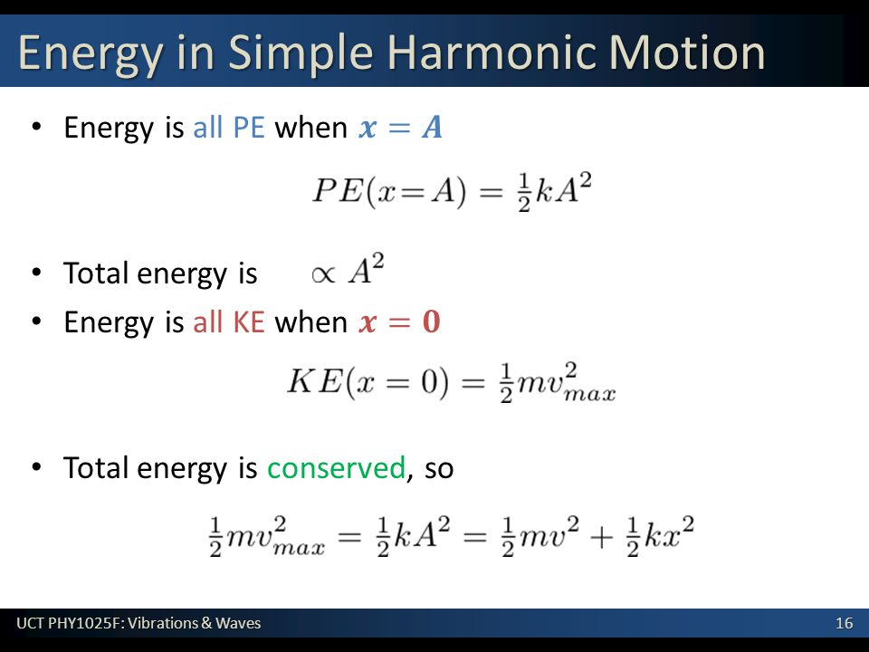 Energy in Simple Harmonic Motion