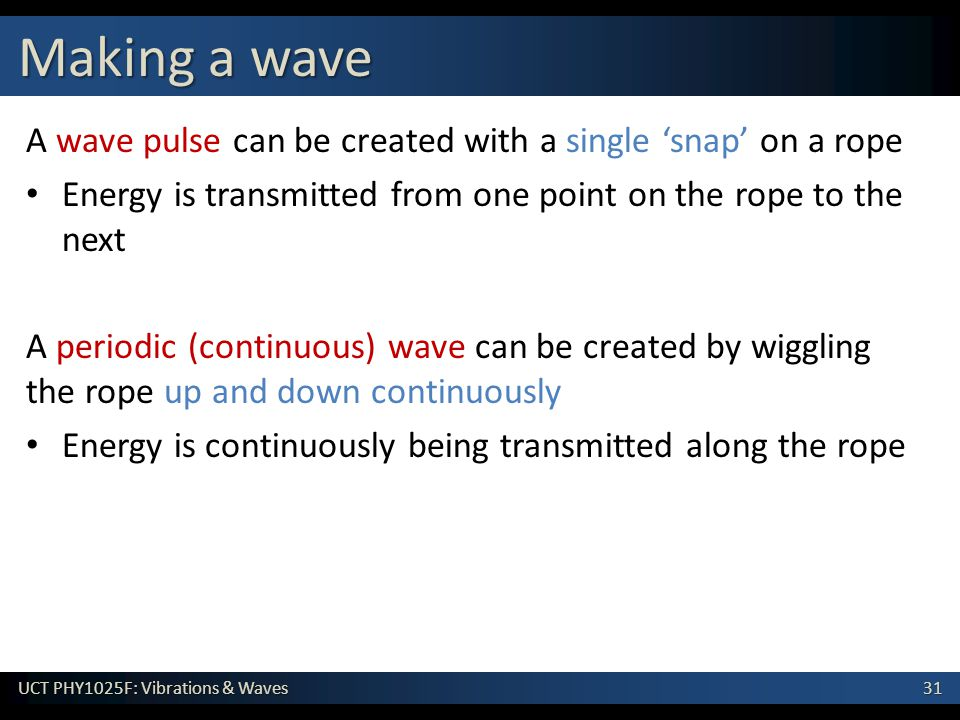 Making a wave A wave pulse can be created with a single 'snap' on a rope. Energy is transmitted from one point on the rope to the next.