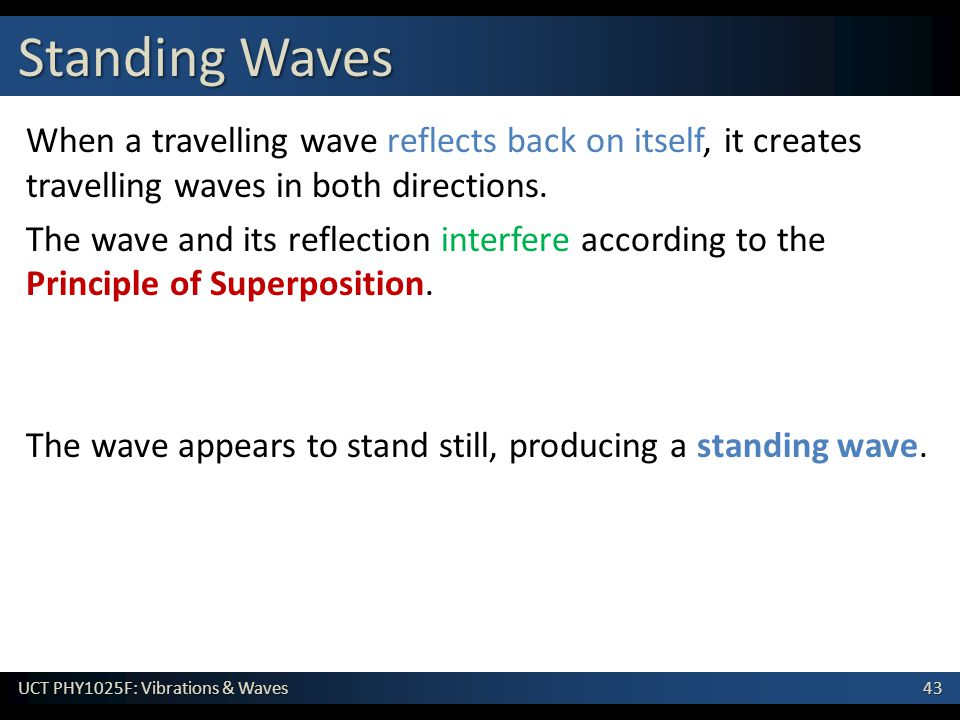 Standing Waves When a travelling wave reflects back on itself, it creates travelling waves in both directions.