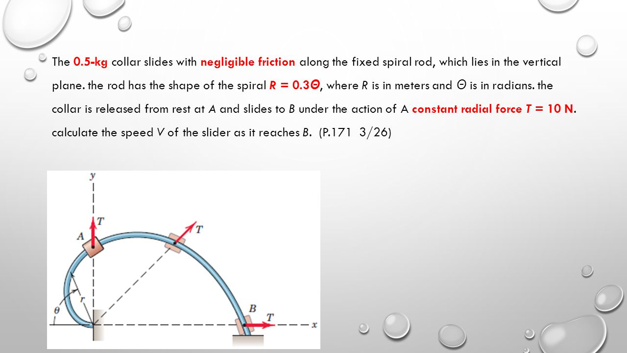 The 0.5-kg collar slides with negligible friction along the fixed spiral rod, which lies in the vertical plane.