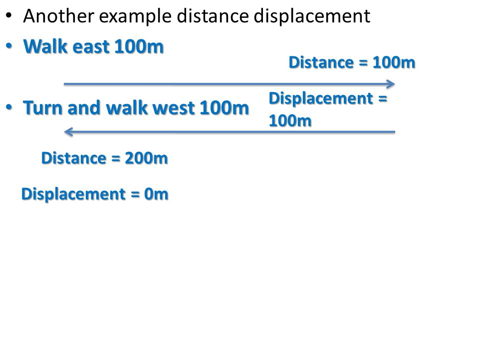 Another example distance displacement Walk east 100m