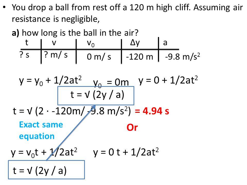 y = y0 + 1/2at2 y = 0 + 1/2at2 y0 = 0m t = √ (2y / a)