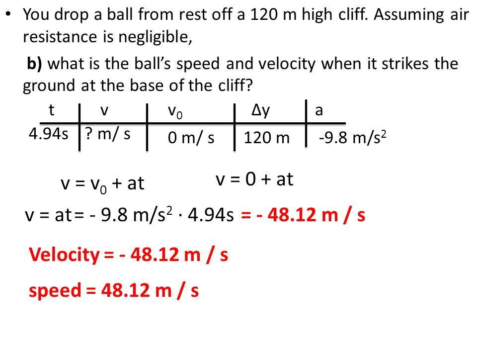 v = 0 + at v = v0 + at v = at = - 9.8 m/s2 ∙ 4.94s = - 48.12 m / s