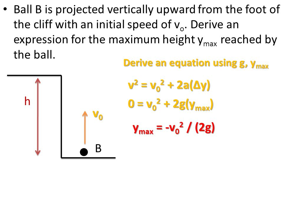 Ball B is projected vertically upward from the foot of the cliff with an initial speed of vo. Derive an expression for the maximum height ymax reached by the ball.