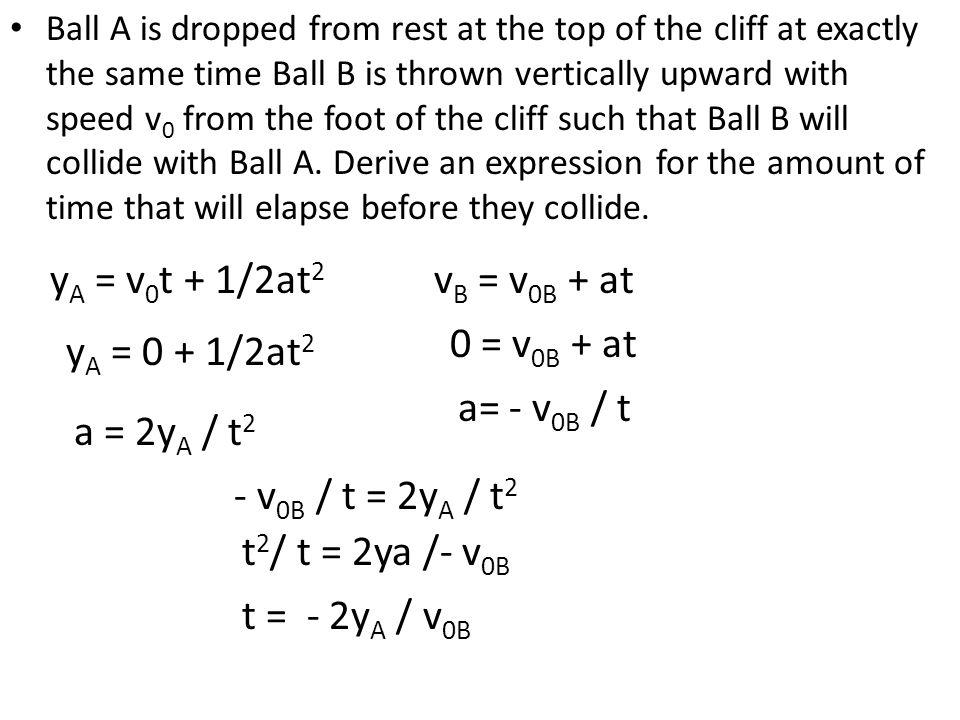 yA = v0t + 1/2at2 vB = v0B + at 0 = v0B + at yA = 0 + 1/2at2