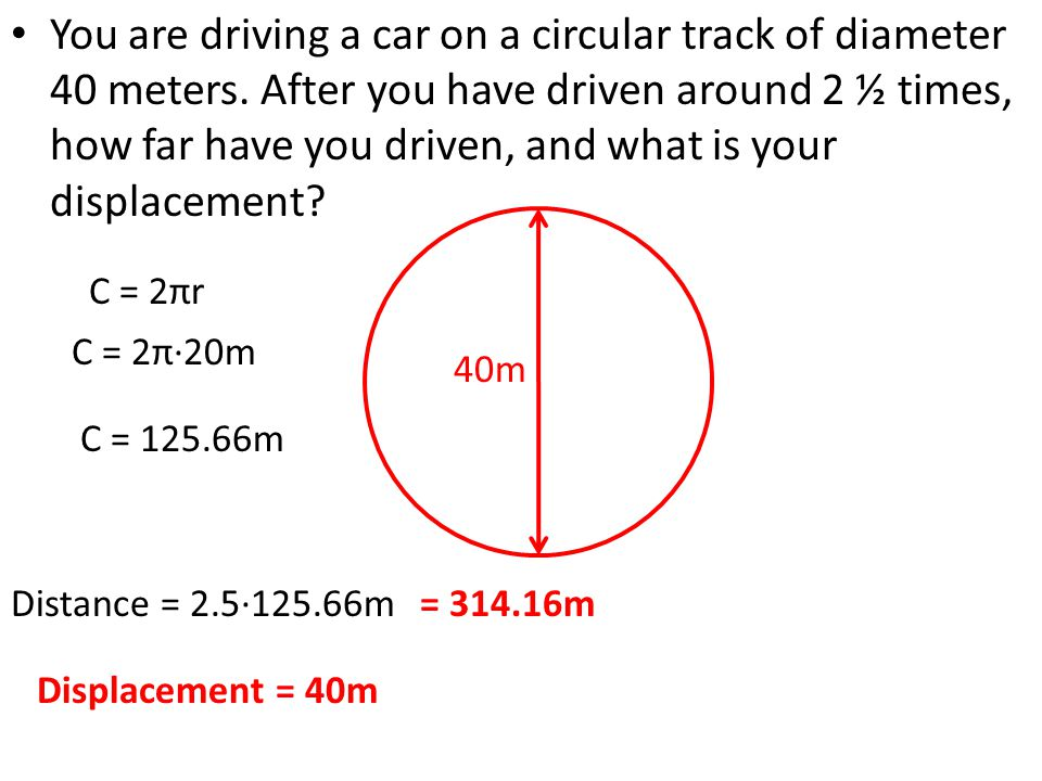 You are driving a car on a circular track of diameter 40 meters