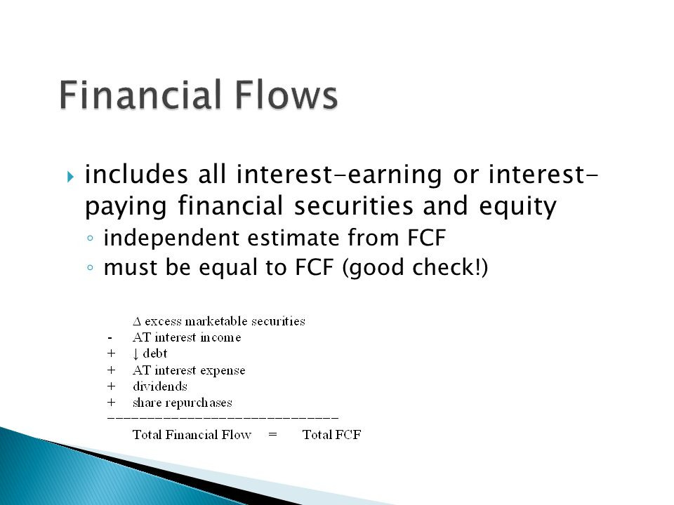 Financial Flows includes all interest-earning or interest- paying financial securities and equity. independent estimate from FCF.