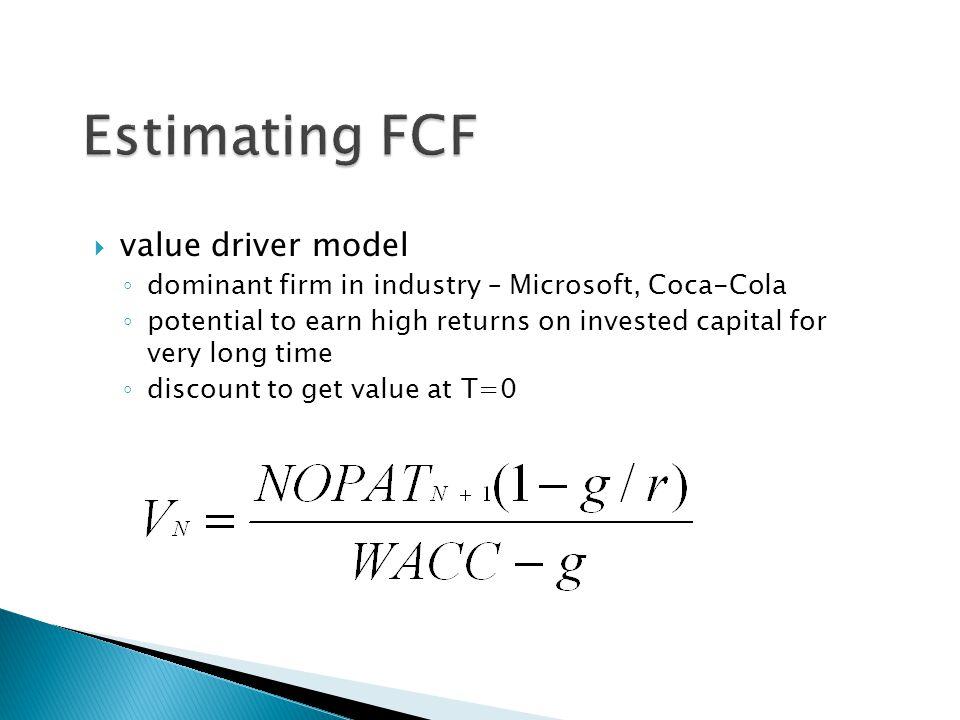 Estimating FCF value driver model