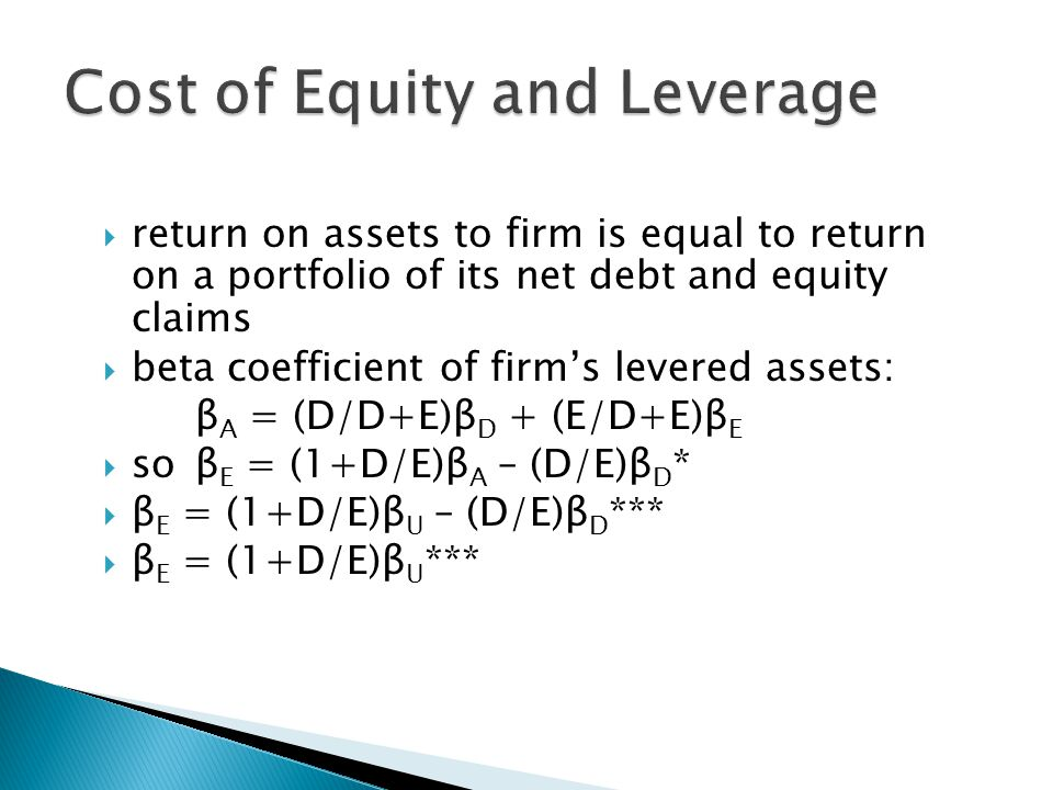 Cost of Equity and Leverage