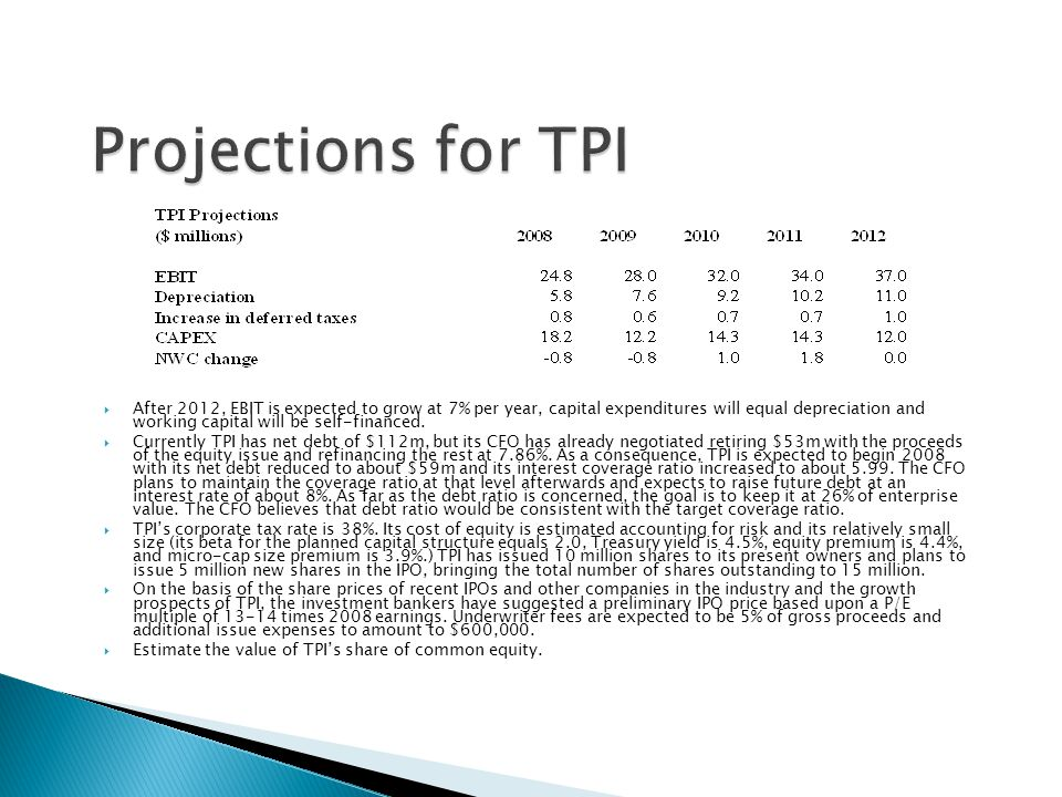 Projections for TPI