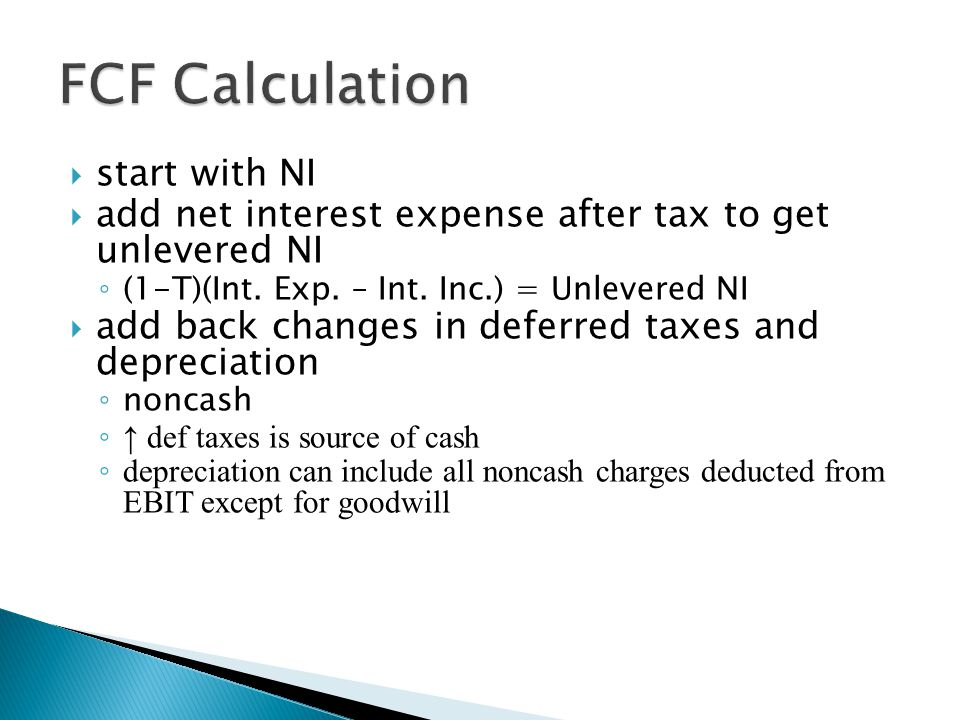 FCF Calculation start with NI