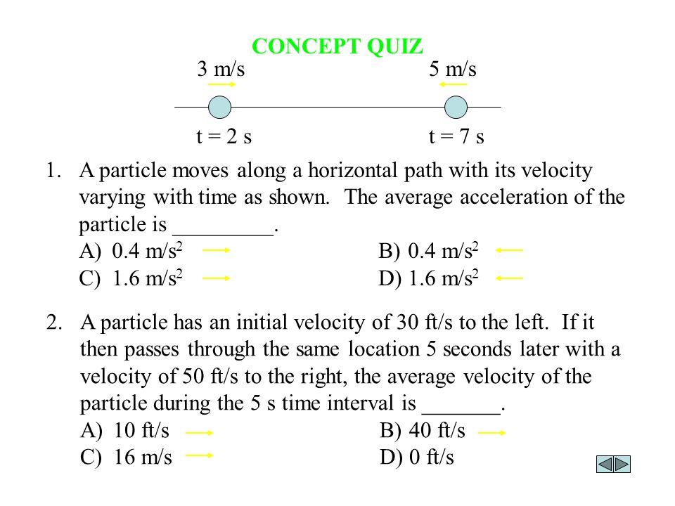 CONCEPT QUIZ t = 2 s t = 7 s 3 m/s 5 m/s
