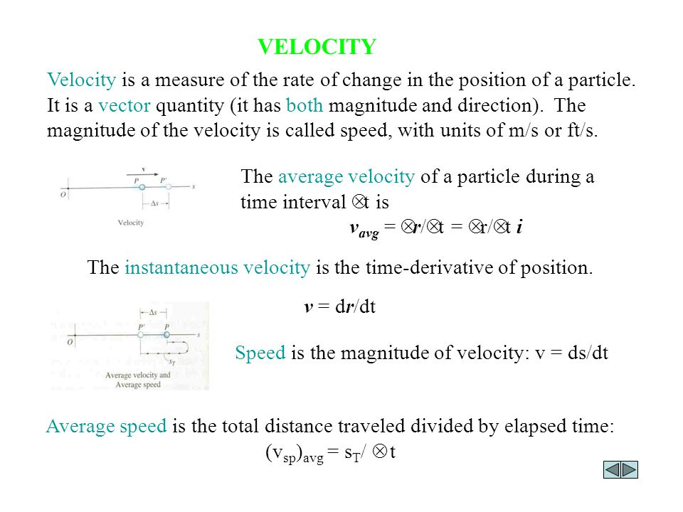 The instantaneous velocity is the time-derivative of position.
