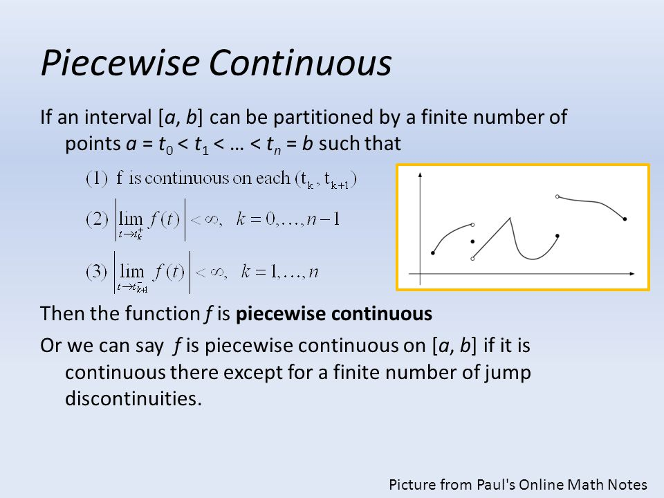 Piecewise Continuous