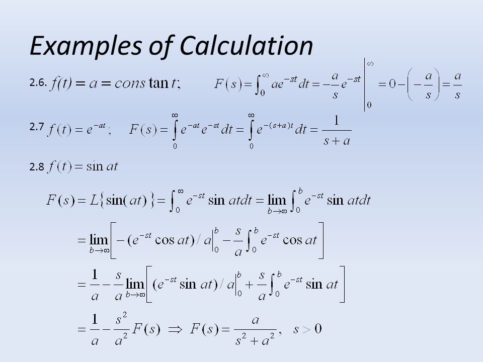 Examples of Calculation