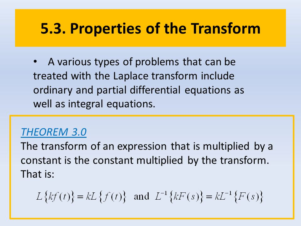 5.3. Properties of the Transform