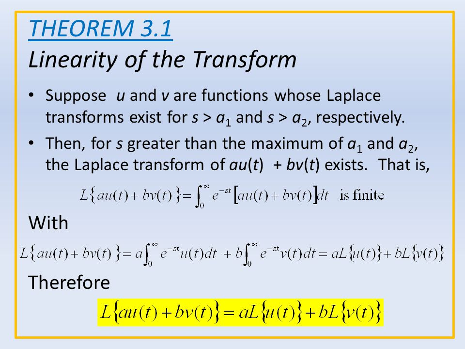 THEOREM 3.1 Linearity of the Transform