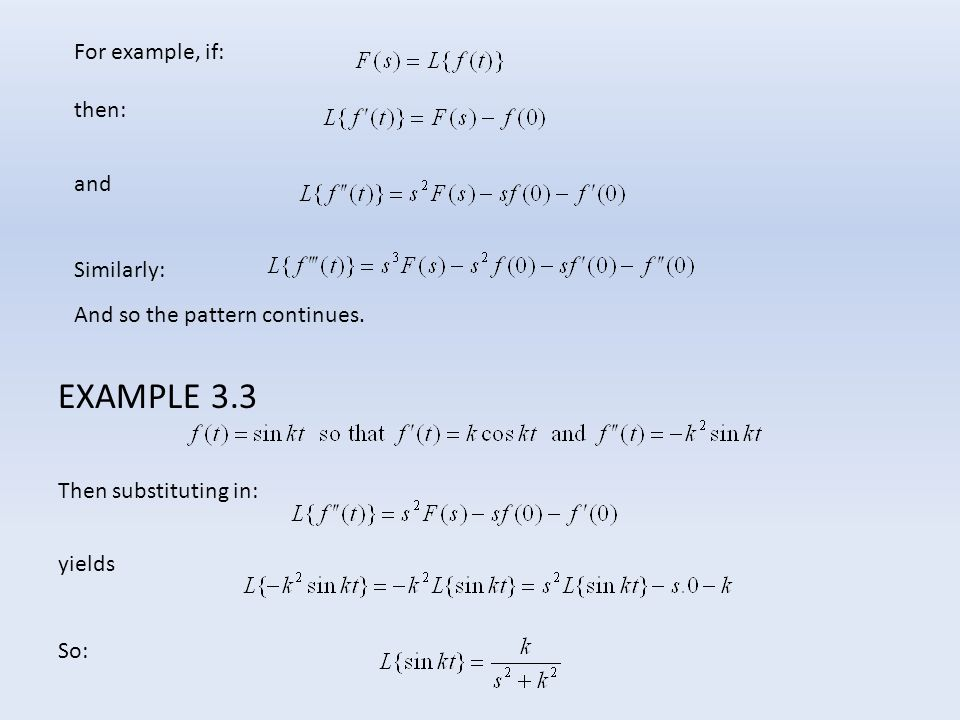 EXAMPLE 3.3 For example, if: then: and Similarly: