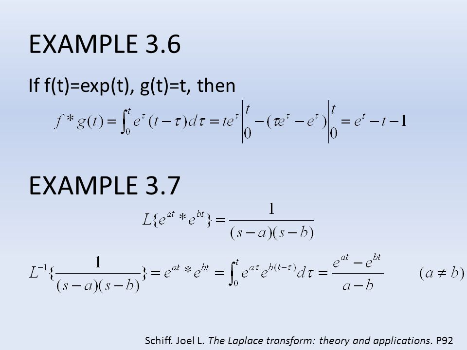 EXAMPLE 3.6 EXAMPLE 3.7 If f(t)=exp(t), g(t)=t, then