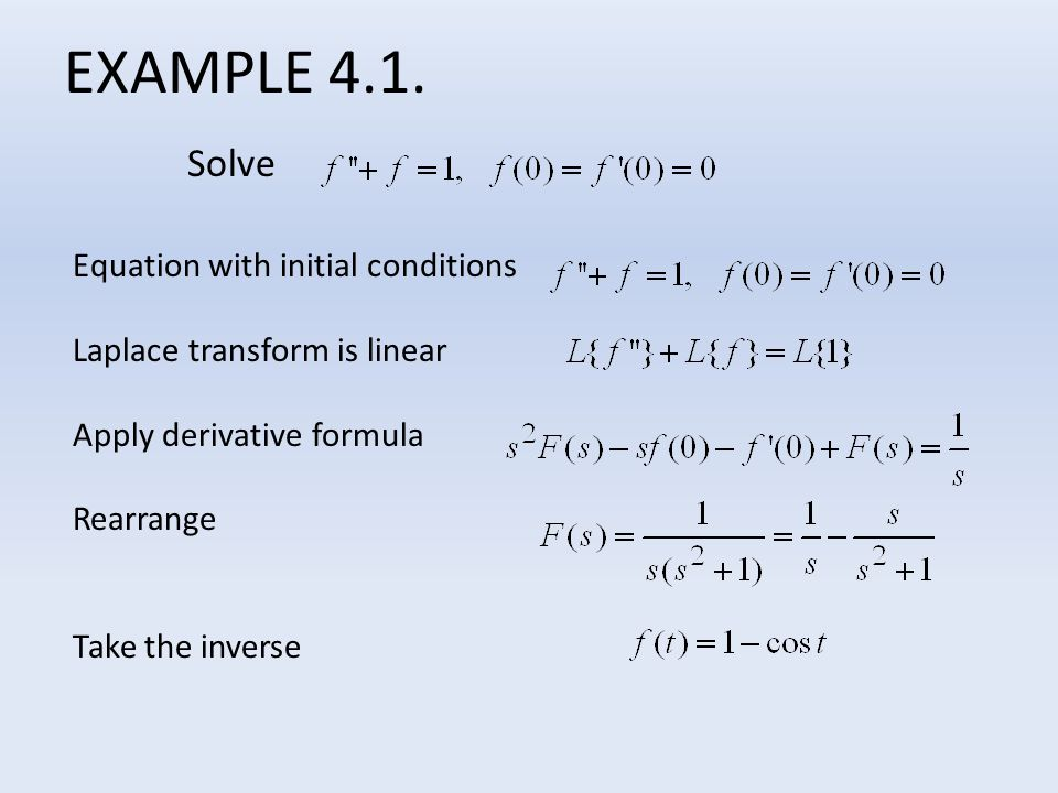EXAMPLE 4.1. Solve Equation with initial conditions