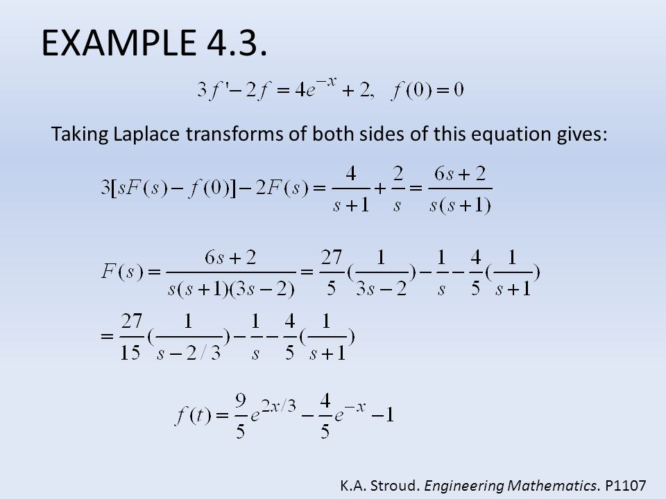 EXAMPLE 4.3. Taking Laplace transforms of both sides of this equation gives: K.A.