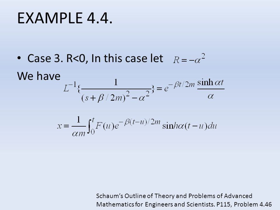 EXAMPLE 4.4. Case 3. R<0, In this case let We have